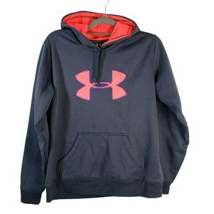 Under Armour Fleece Lined Hoodie Grey Pink Purple Youth L